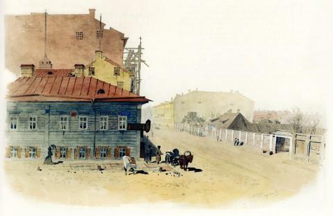 Баганц Ф. Ф., Бассейная улица, Питейный дом напротив дома Доссе. 1858-1860 годы.