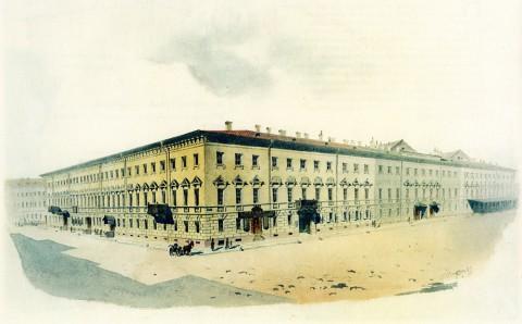 Баганц Ф. Ф., Дом Палибиной. На углу Михайловской площади. 1849-1850 годы.