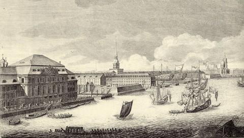 Махаев М. И., Фрагмент гравюры Махаева. Зимний дворец и Адмиралтейство со стороны Невы. 1749-1750.