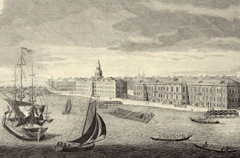 Махаев М. И., Фрагмент гравюры Махаева. Университетская набережная. 1749-1750.