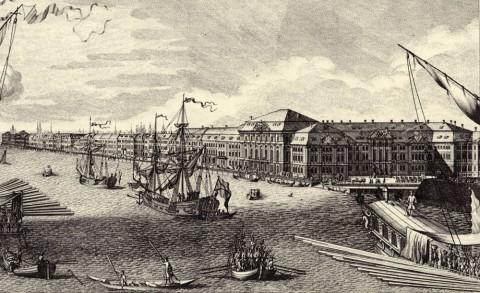 Махаев М. И., Фрагмент гравюры Махаева. Дворцовая набережная. 1749-1750.