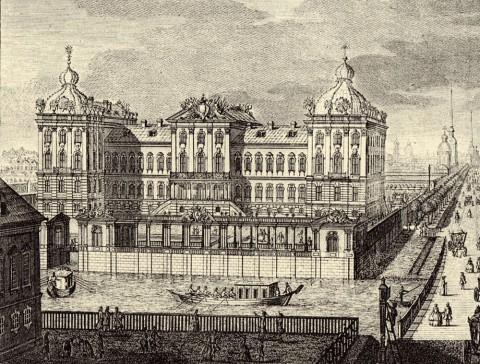 Махаев М. И., Фрагмент гравюры Махаева. Аничков дворец. 1749-1750.