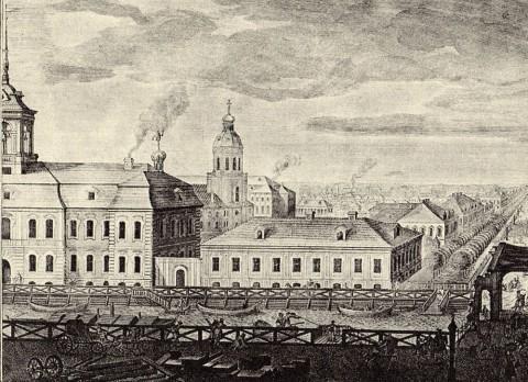 Махаев М. И., Фрагмент гравюры Махаева. Голландская церковь. 1750-1751, 1761.