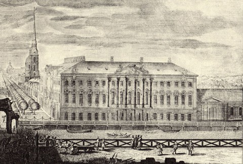 Махаев М. И., Фрагмент гравюры Махаева. Строгановский дворец. 1750-1751, 1761.