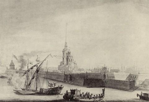 Махаев М. И., Фрагмент рисунка Махаева. Петропавловская крепость. 1759.