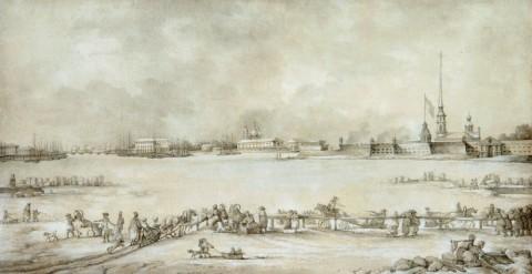 Дамам-Демартре М. Ф., Вид Петербургской крепости и санных бегов, устраиваемых зимой на Неве. 1800-е.