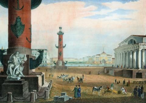 Васильев Т. А., Здание биржи с ея маяками. 1821.