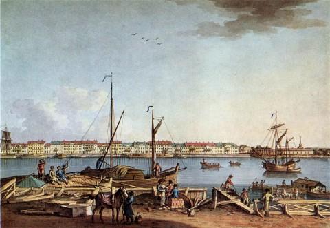 Патерсен Б., Английская набережная и Галерный двор с Васильевского острова (III часть). 1799 г..