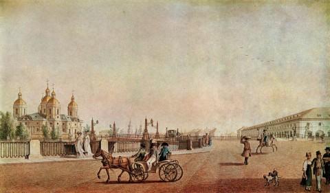 Патерсен Б., Садовая улица у Никольского собора и рынка. 1800 г..
