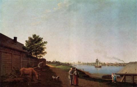Патерсен Б., Вид на Александро-Невский монастырь со стороны Охты. 1798 г..