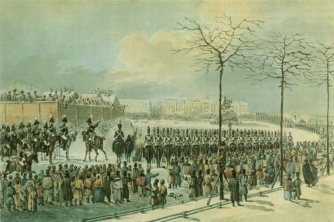 Кольман К. И., 14 декабря 1825 года на Сенатской площади. 1820-е гг..