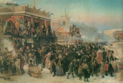 Маковский К. Е., Народное гулянье во время Масленицы на Адмиралтейской площади в Петербурге. 1869 г..