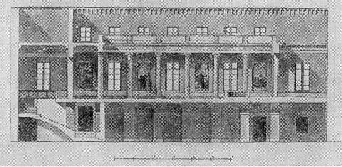 Монферран О., Проект устройства новой церкви в здании Адмиралтейства. Продольный разрез.