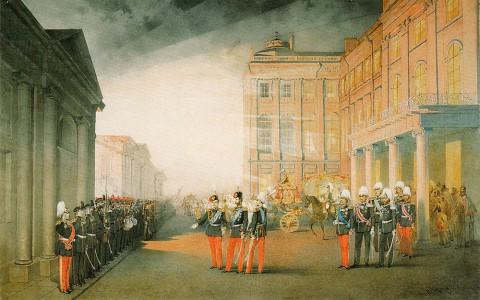 Зичи М. А., Парад 12-го гренадерского Астраханского Е.И.В. наследника полка перед Аничковым дворцом 26 февраля 1870. 1870 г..