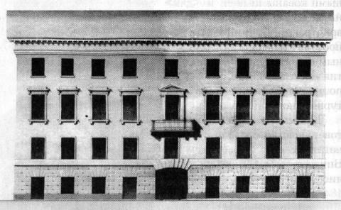 Фасад дома №6 на Гороховой улице. 1829.