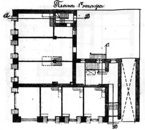Лидваль Ф. И., Проект дома М. А. Александрова. План первого этажа. 1902.