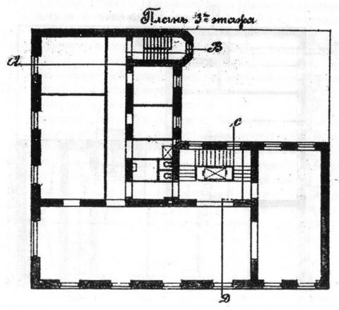Лидваль Ф. И., Проект дома М. А. Александрова. План третьего этажа. 1902.