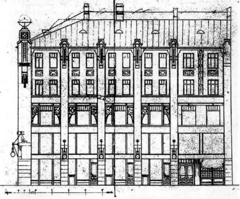 Лидваль Ф. И., Проект дома М. А. Александрова. Фасад по Апраксину переулку. 1902.