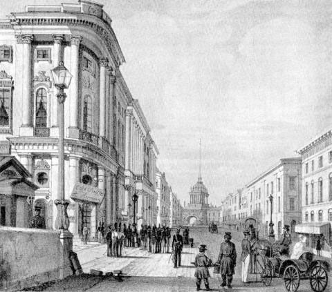 Неизвестный художник, Вид Невского проспекта с Полицейского моста в сторону Адмиралтейства. нач. 1820-х.