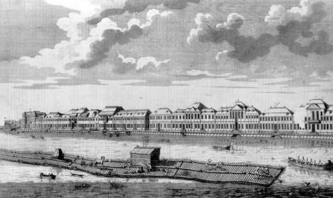 Эллигер О., Набережная реки Невы от Летнего сада до Зимнего дворца императрицы Екатерины I. 1725-1729.