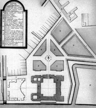 Растрелли Ф. Б., Генеральный план Зимнего дворца, Адмиралтейской площади и прилегающих строений. 1761.