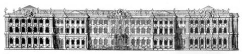 Растрелли Ф. Б., Западный фасад Зимнего дворца. 1761.