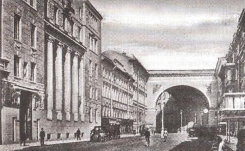 Большая Морская улица у арки Главного штаба. 1909.
