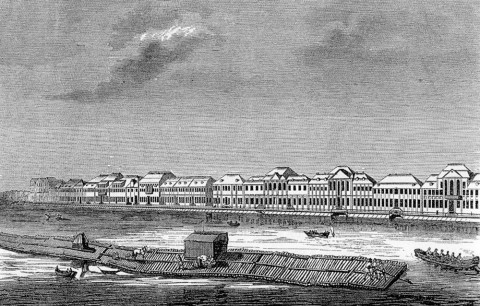 Марселиус Х., Набережная р. Невы между Летним садом и Зимним дворцом. 1729 г..