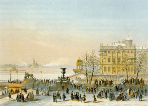 Шарлемань И. И., Пристань Зимнего дворца во время Крещения на Неве 7 января.