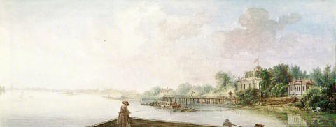 Де ла Траверс Ж. Б., Вид на дачу Строгановых со стороны Невки. 1783 г..