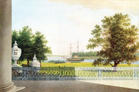 Воробьёв М. Н., Вид терассы Елагина дворца. 1823 г..