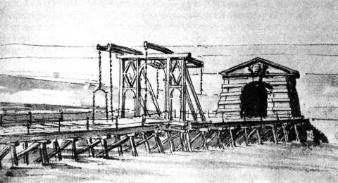 Блом Ф., Иоанновские ворота Петропавловской крепости и Красный мост.