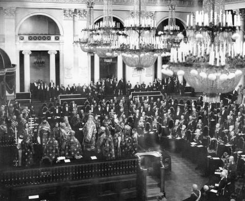 Молебен в зале Дворянского собрания С.-Петербурга. 1906 г..