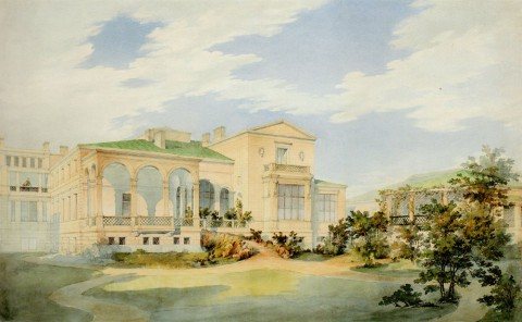 Гедике Р. А., Вид дома Г. Боссе со стороны сада. кон. 1840-х.