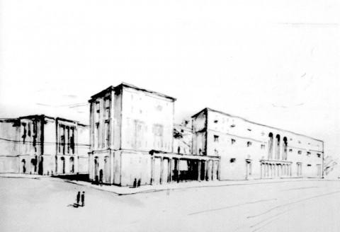 Эскиз к проекту застройки Московского проспекта в районе Северной площади. кон. 1930-х.