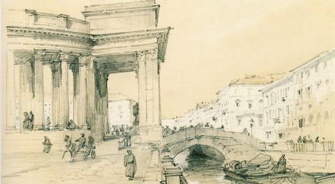 Премацци Л. О., Казанский собор со стороны Екатерининского канала. 1840-1850-е гг..