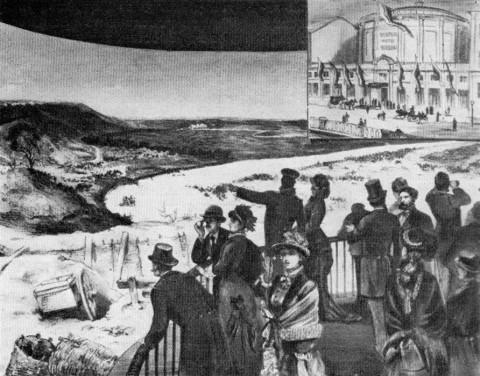 Петербуржцы в здании панорамы на Екатерининском канале.