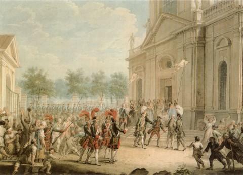 Неизвестный художник, Екатерина II на ступенях Казанского собора, приветствуемая духовенством в день воцарения 28 июня 1762 года. кон. XVIII - 1-я треть XIX в..
