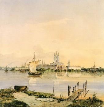 Неизвестный художник, Вид на Смольный собор со стороны Невы. 1845.