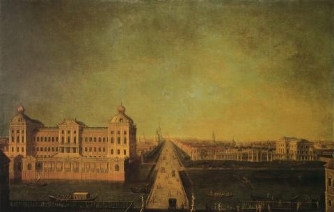 Вид Невского проспекта от Аничкого моста<br />1750-е гг