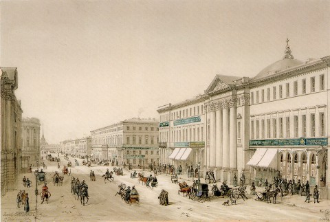 Шарлемань И. И., Вид на Голландскую реформатскую церковь и Невский проспект. 1853.