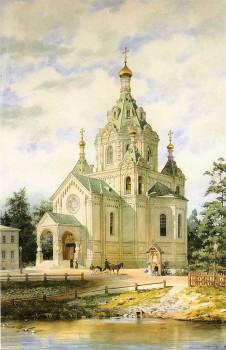 Бенуа Альб. Н., Вид церкви святителя Николая Чудотворца на Выборгской стороне. 1881.