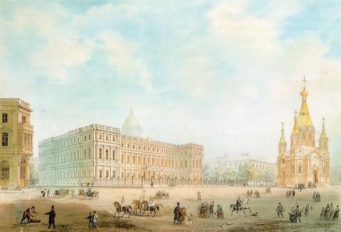 Штакеншнейдер А. И., Вид на Николаевский дворец и Благовещенскую церковь. 1857.