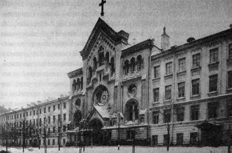 Церковь Св. Екатерины и причтовые дома.