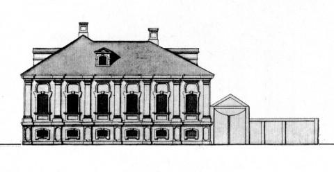 Флигель реформатской кирхи, обращённый к Большой Прешпективе. 1740-е.