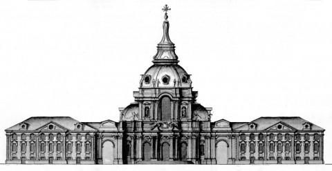 Фасад католической церкви с домами для христианских бенедиктинских монахов. 1739.