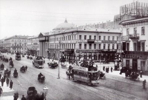 Булла К. К., Вид на Невский проспект у Голландской церкви (дом 20). Начало 1900-х годов.