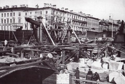 Реконструкция Аничкова моста, 1906-1908 гг.