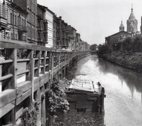 Неизвестный фотограф, Вид на Крюков канал и церковь Благовещения Пресвятой Богородицы. 1900-е годы.