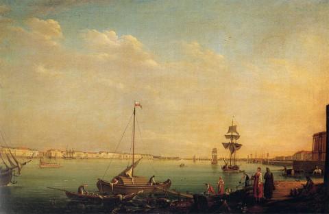 Майр И. Г., Вид на Английскую набережную с Васильевского острова. 1801 год.